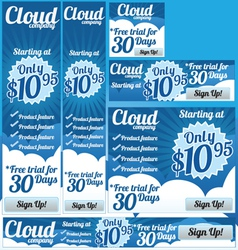 Business Cloud 6 Banner Set vector