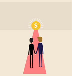 businessman entering an open money vector image