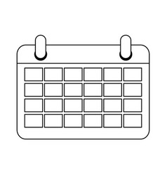 calendar planner symbol isolated in black and vector image