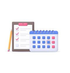 Calendar with to-do checklist business task vector