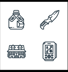 Camping line icons linear set quality line set vector