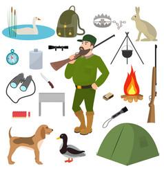 Cartoon hunter hunting equipment wildfowl vector