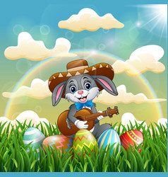 cartoon rabbit mexican relax playing guitar and si vector image