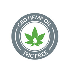 Cbd hemp oil logo thc free medical hemp cannabis vector