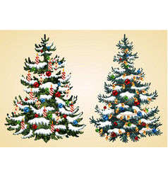 christmas trees with balls garland and candles ve vector image