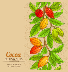 Cocoa branches pattern on color background vector