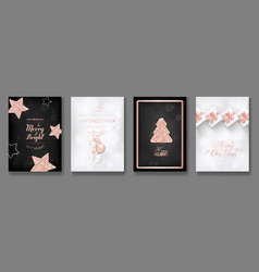 collection elegant merry christmas cards vector image