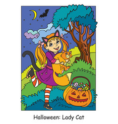 colorful halloween cute little girl in costume vector image