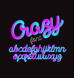 Crazy color 3d alphabet pipe font vector