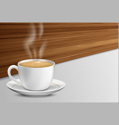 cup of coffee with smoke on a wooden table vector image
