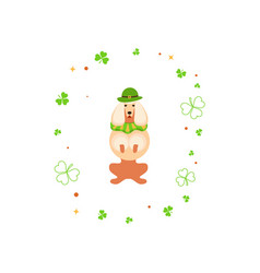 Cute cartoon dog leprechaun vector