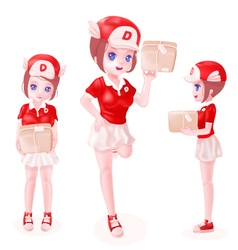 delivery girl toon isolated vector image