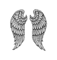 Dotwork angel wings vector
