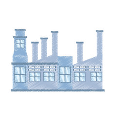 Drawing building factory structure vector