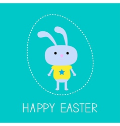 easter bunny in dash egg card vector image
