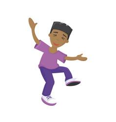 energetic young guy teenager dancing having fun vector image