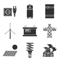 Energy generating systems icons set vector