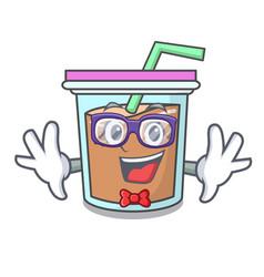 Geek bubble tea character cartoon vector