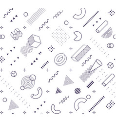geometric shapes memphis pattern black and white vector image