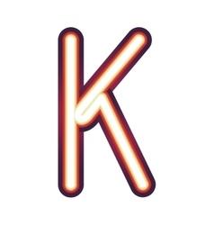 Glowing neon letter K vector