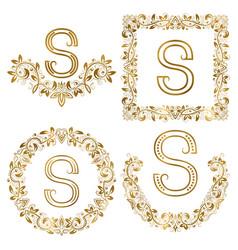 golden s letter ornamental monograms set heraldic vector image