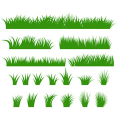 Grass borders set green tufts vector