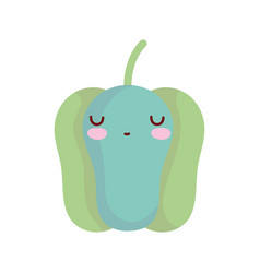 green pepper bell character cartoon food cute line vector image