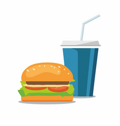 Hamburger and a coke soda pop cheeseburger vector