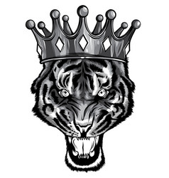 hand drawn portrait tiger with crown vector image