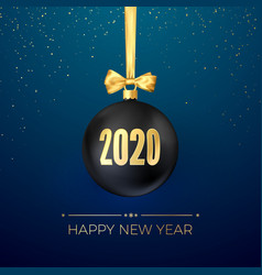 happy new year 2020 greeting card with black vector image