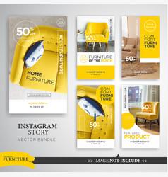 Home interior instagram stories template vector