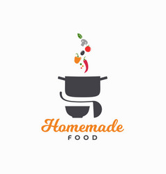 Homemade food logo pan with vegetables and plate vector