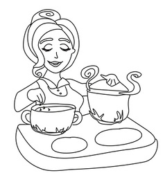 housewife cooking soup vector image vector image