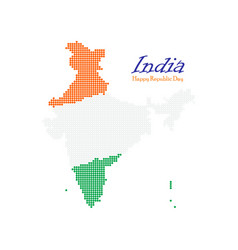 india dotted map independence day map silhouette vector image