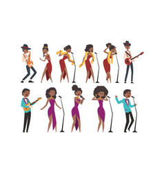 jazz band african american men and women singing vector image