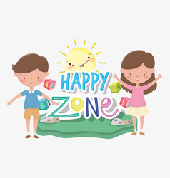 Kids zone happy little boy and girl numbers vector