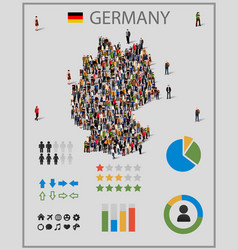Large group people in germany map vector