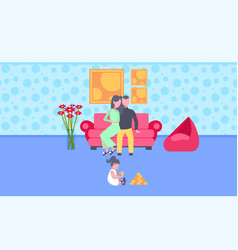 little child playing toys on floor while parents vector image
