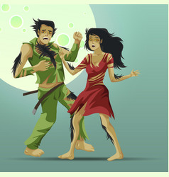 Man and woman transformating into werewolf poster vector