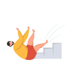 Man falling down a flight stairs injury and vector