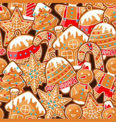 merry christmas seamless pattern with various vector image