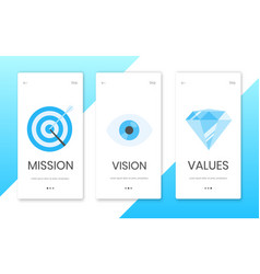 Mission vision and values flat style design icons vector
