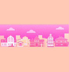 monochrome pink cartoon fairy tale houses for vector image