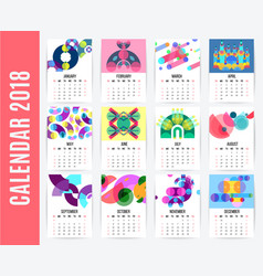 Monthly calendar design set vector