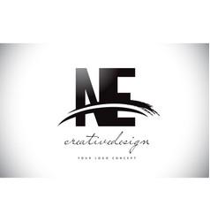 Ne n e letter logo design with swoosh and black vector