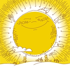 ofhappy big sun vector image