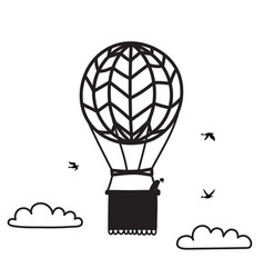 outline hot air balloon with people vector image