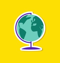 paper sticker on stylish background globe vector image