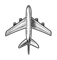 Passenger plane top view sketch vector