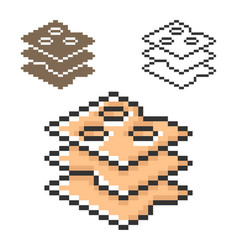 Pixel icon cheese cuts in three variants fully vector